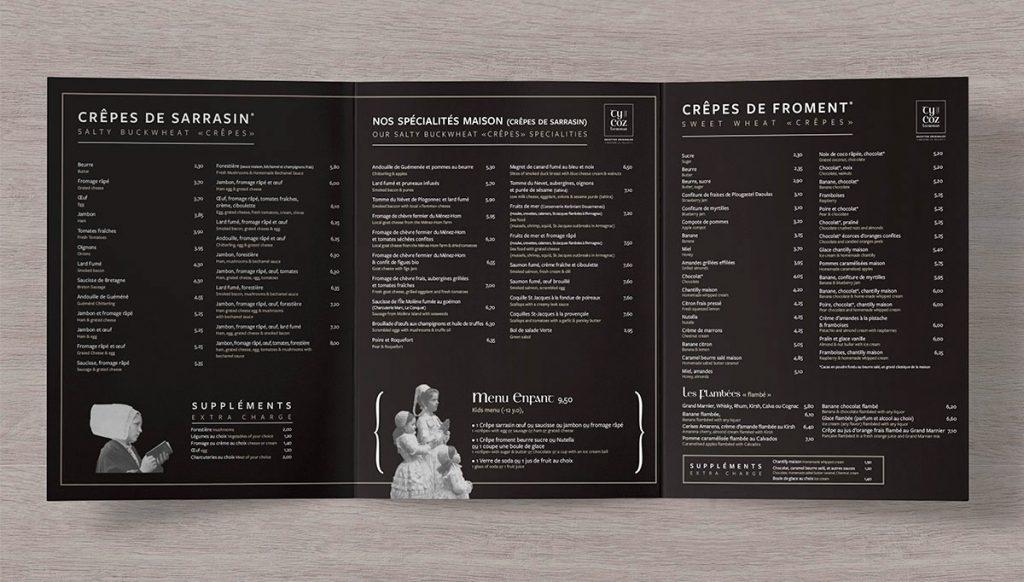 design menu creperie